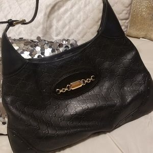 Gucci black leather GG hobo bag